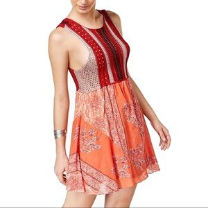 Free People Katie's Mini Dress Red Combo XS